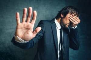 Stressed businessman after business project failure